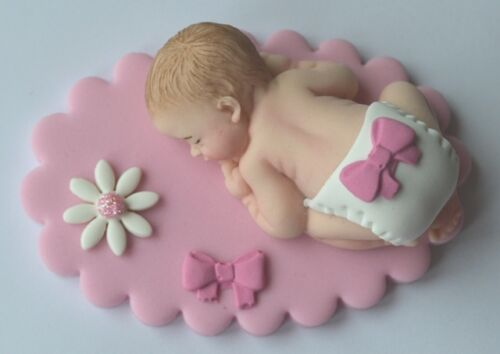 Edible baby pink Christening cake topper Baby shower decoration New baby topper