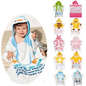 3b62ab474 New Unisex Child Baby Wear Bathrobe Hooded Poncho Swim Beach Cotton ...