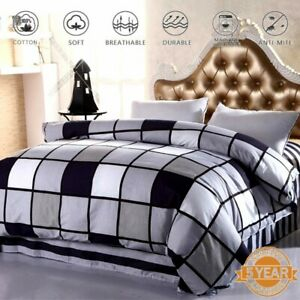 Checked-Duvet-Doona-Quilt-Cover-Set-Queen-King-Single-Double-Size-Pillowcase-New