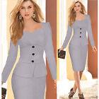 Women Work Wear Vestidos De Fiesta Button Elegant Bodycon Pencil Office Dress