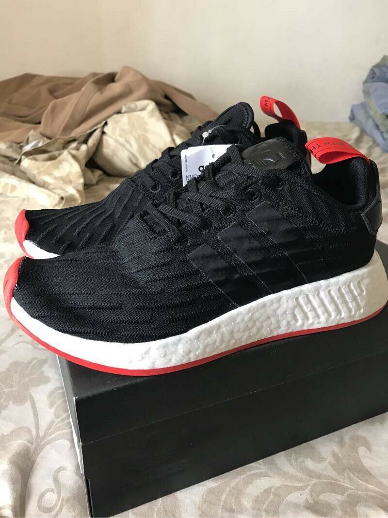 Adidas NMD_R2 PK Nomad Primeknit Black/Red/White BRED BA7252 Running Shoes 8