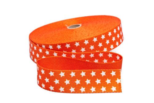 30 mm 1 m Gurtband in orange mit weißen Sternen