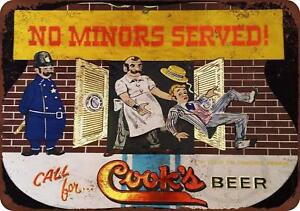 Cook-039-s-Beer-No-Minors-Served-Vintage-Retro-Metal-Sign-8-034-x-12-034