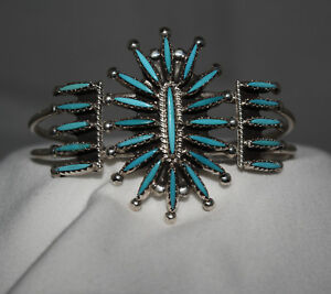 Turquoise-Needlepoint-Cuff-Bracelet-by-Ben-Yellowhorse-Navajo