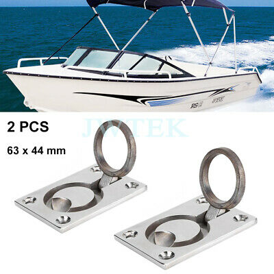 Boat Deck Cabin Hatch 44 x 38 4 x STAINLESS STEEL ANTI-RATTLE FLUSH PULL RINGS
