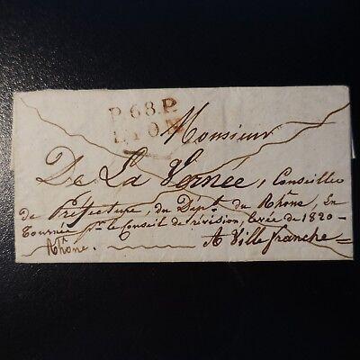 > Villefranche NüTzlich FüR äTherisches Medulla 1821 Brief Cover Marke Post P68p Lyon Rote 22x12