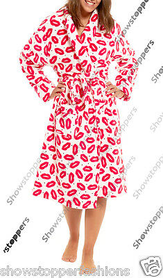 Size 8 to 22 Ladies Coral Fleece Bath Robe Womens Dressing Gown Wrap Bathrobe