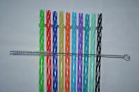 Reusable Straws Clear Swirly Colored Hard Plastic Acrylic Rings + Brush 1b