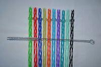 Reusable Straws Clear Swirly Colored Hard Plastic Acrylic Rings + Brush 1b