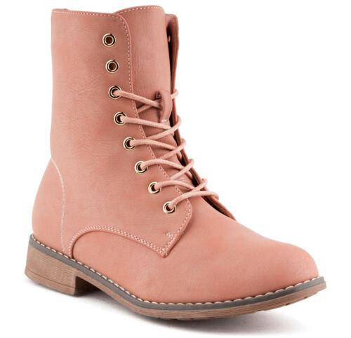 36-41 Neu Damen Schnür Boots Biker Stiefeletten Bequeme Stiefel 1585 Schuhe Gr