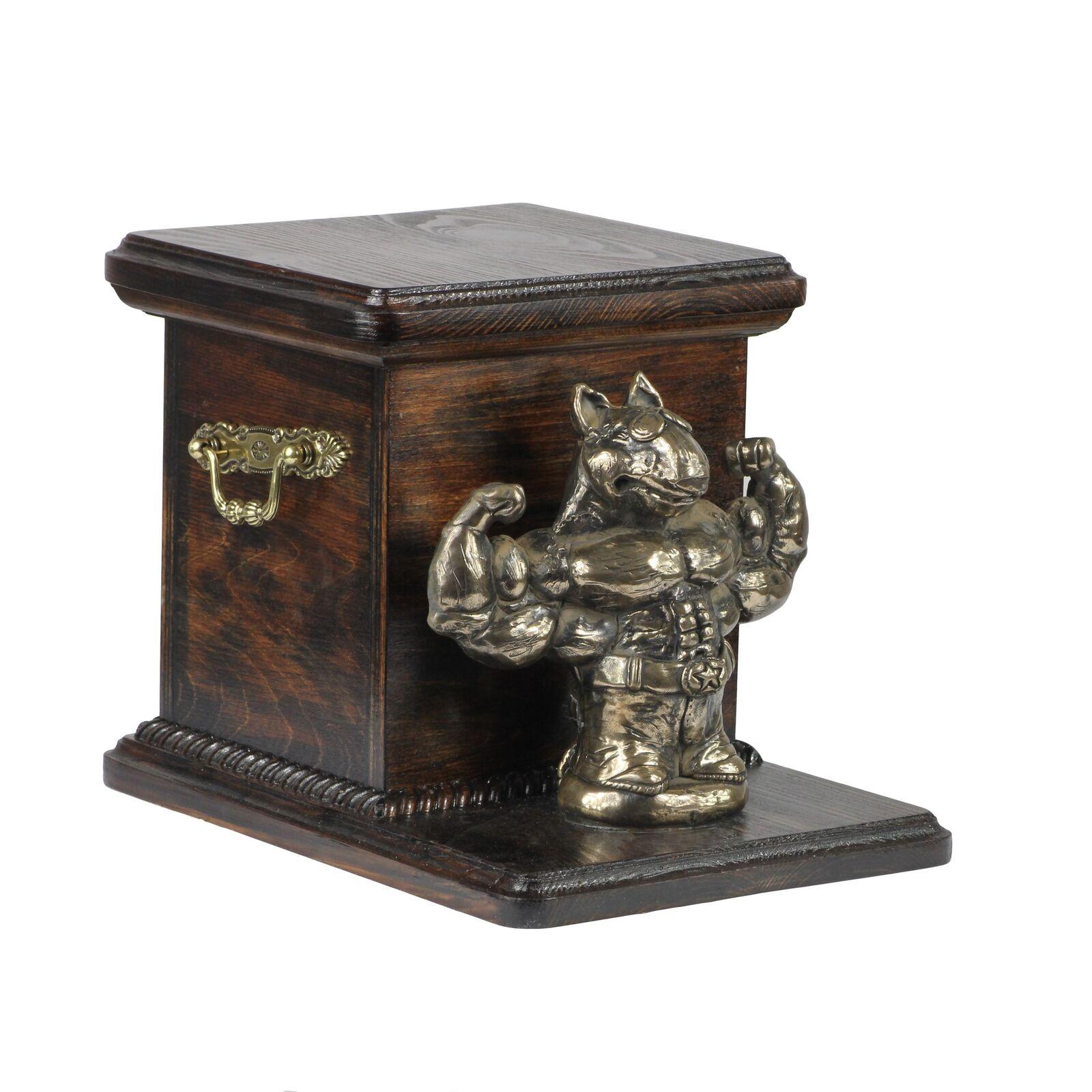 design unico Bull Terrier - wooden exclusive urn for dog with statue, statue, statue, Art Dog type 3  presa di fabbrica
