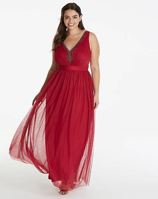 Little mistress Embellished Maxi dress uk size 12 Berry BNWT