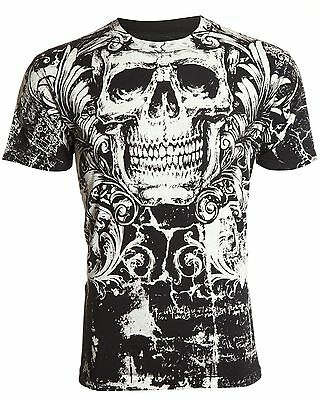Archaic AFFLICTION Mens T-Shirt KILLROY Skull Tattoo Biker Gym MMA UFC M-4XL $40