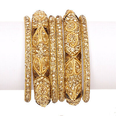 Indian Ethnic Gold Plated Wedding Ad Bangles Bracelet Traditional