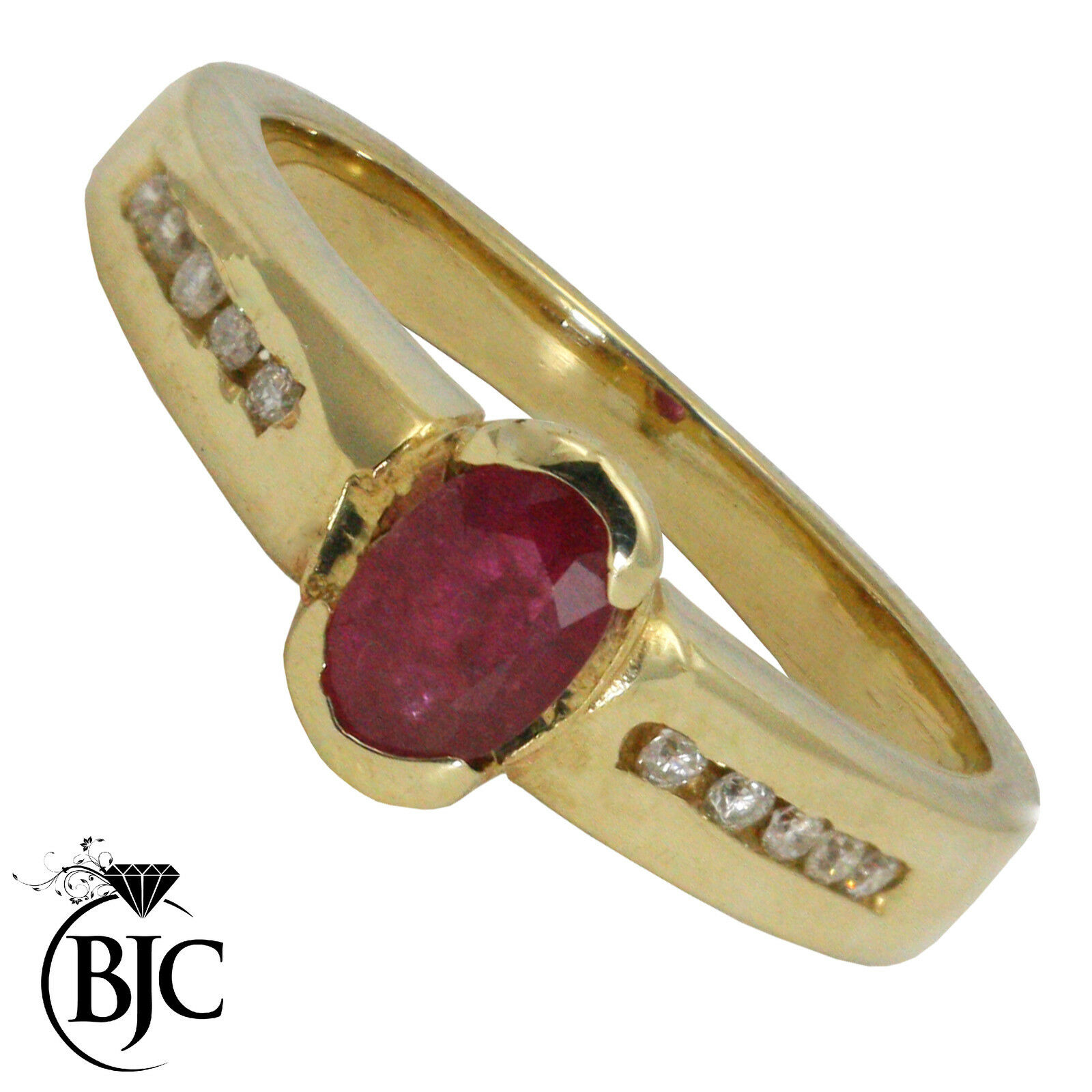 Bjc 9 Ct Rubis or yellow & Diamant Solitaire size N Fiançailles
