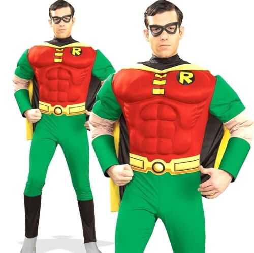 Adult ROBIN DELUXE MUSCLE CHEST Superhero Mens Fancy Dress Halloween Original