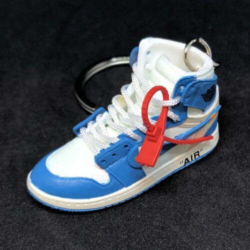 AIR JORDAN 1 I RETRO HI OFF-WHITE UNC BLUE SNEAKERS 3D KEYCHAIN SHOE BOX FIGURE