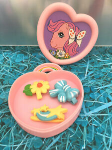 My-Little-Pony-G1-Jewellery-Box-Pink-Plus-3-Clips-Vintage-Hasbro-Collectible-EXC