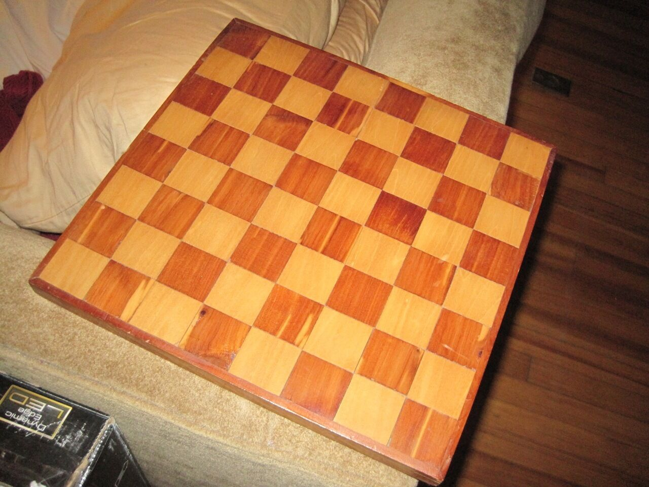 Vintage Hand Made Chess Game Board Walnut & Cherry Wood Parquetry  12-1 2 x 13