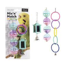 Pájaro jaula 3 mixto juguetes, espejo, bolas y anillos Periquito, Periquito, Cockatiel etcetera