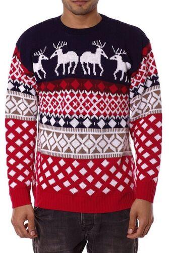 Mens Aztec Knitwear Xmas Sweater Novelty Reindeer Christmas Knitted Jumper S-XXL