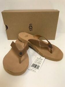 UGG Tawney Chestnut Leather Flip Flop Sandal Women's New