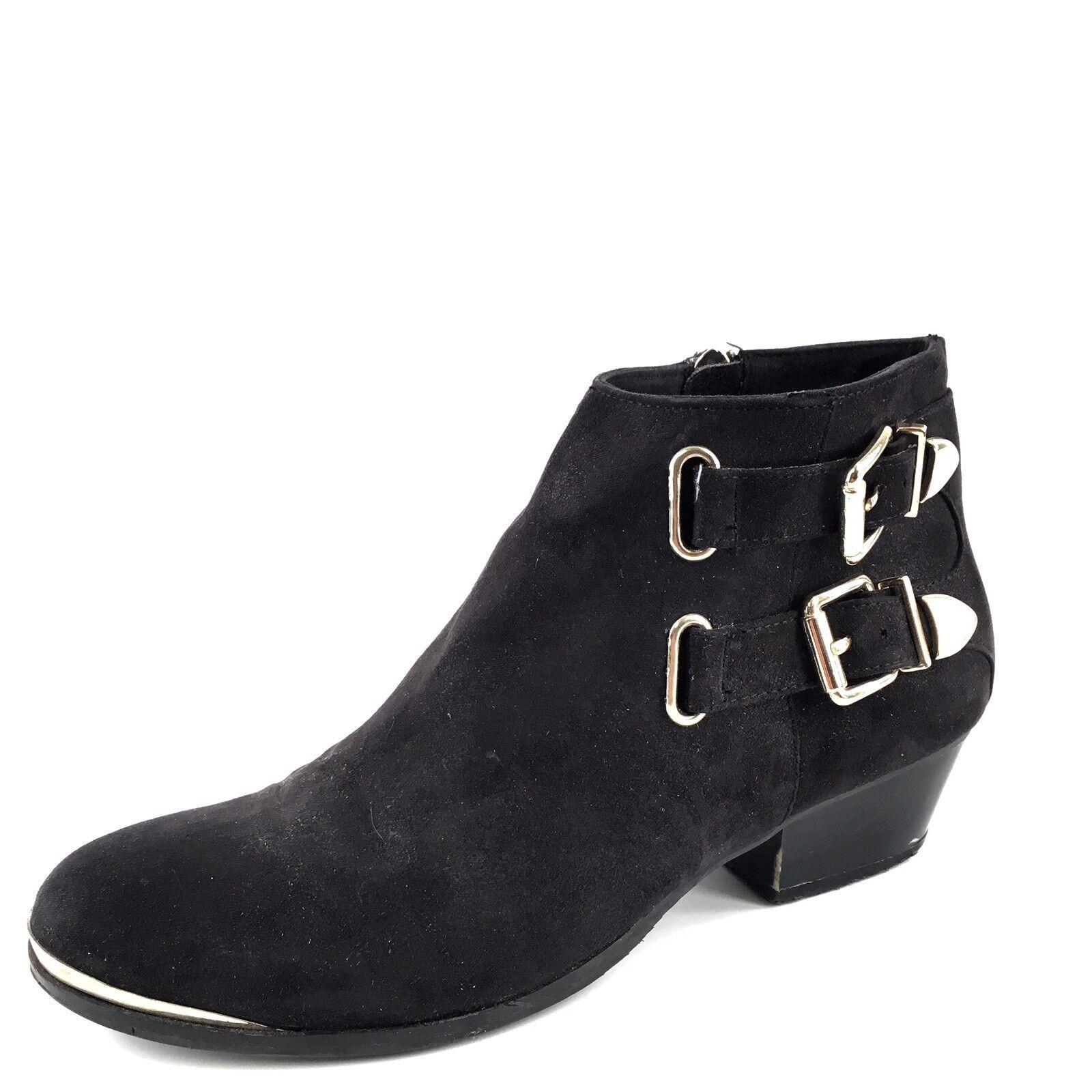 Tildon Black Suede Fashion Ankle Booties Women's Size 7 M*