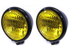 """4.75"""" 120mm BLACK Bates Style E-marked Yellow Metal Headlight for Classic Cars"""
