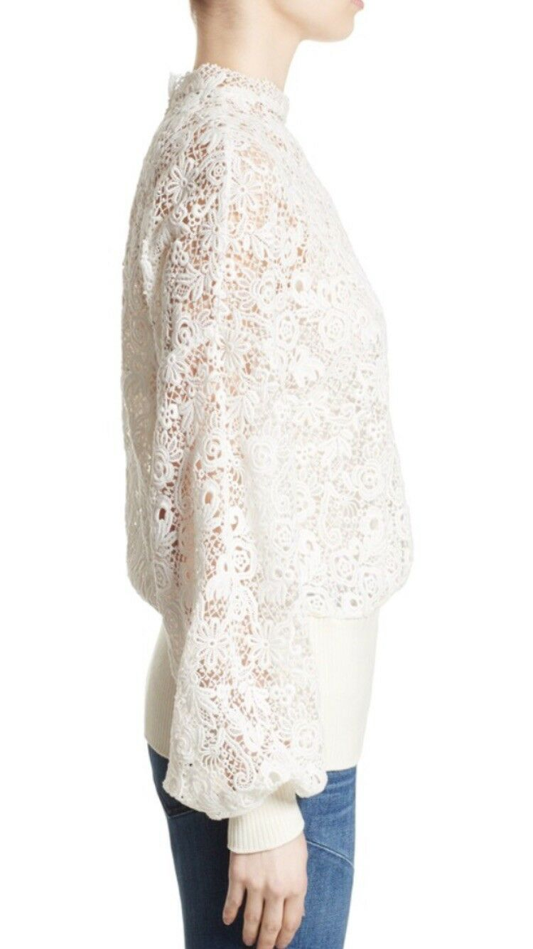 Women's Ivory Lace Lace Lace Sweatshirt Size Large 6ff5cb