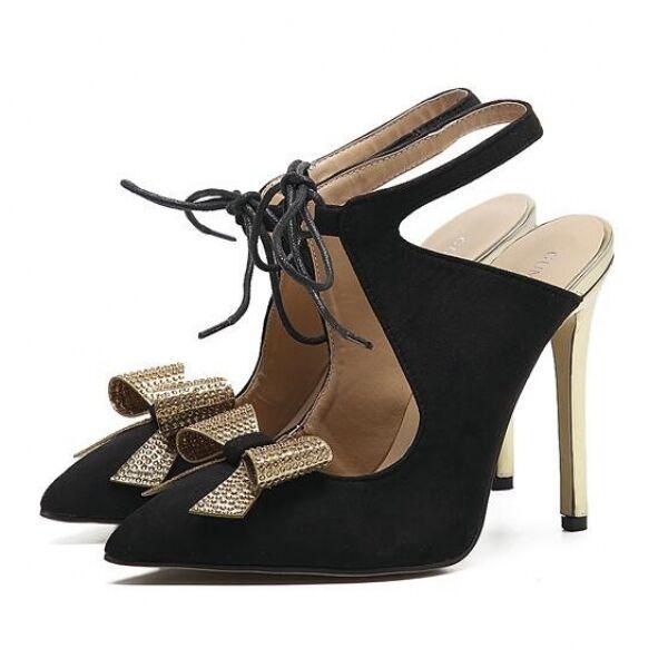 Pumps Frauensandalen Bbsatz 12 cm elegant Stilett schwarz Gold simil Leder CW303