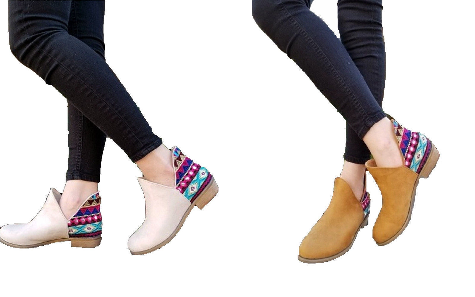 Aztec Geometric femmes Low Cut Dress Ankle bottes démarrageie Slip On chaussures marron Beige