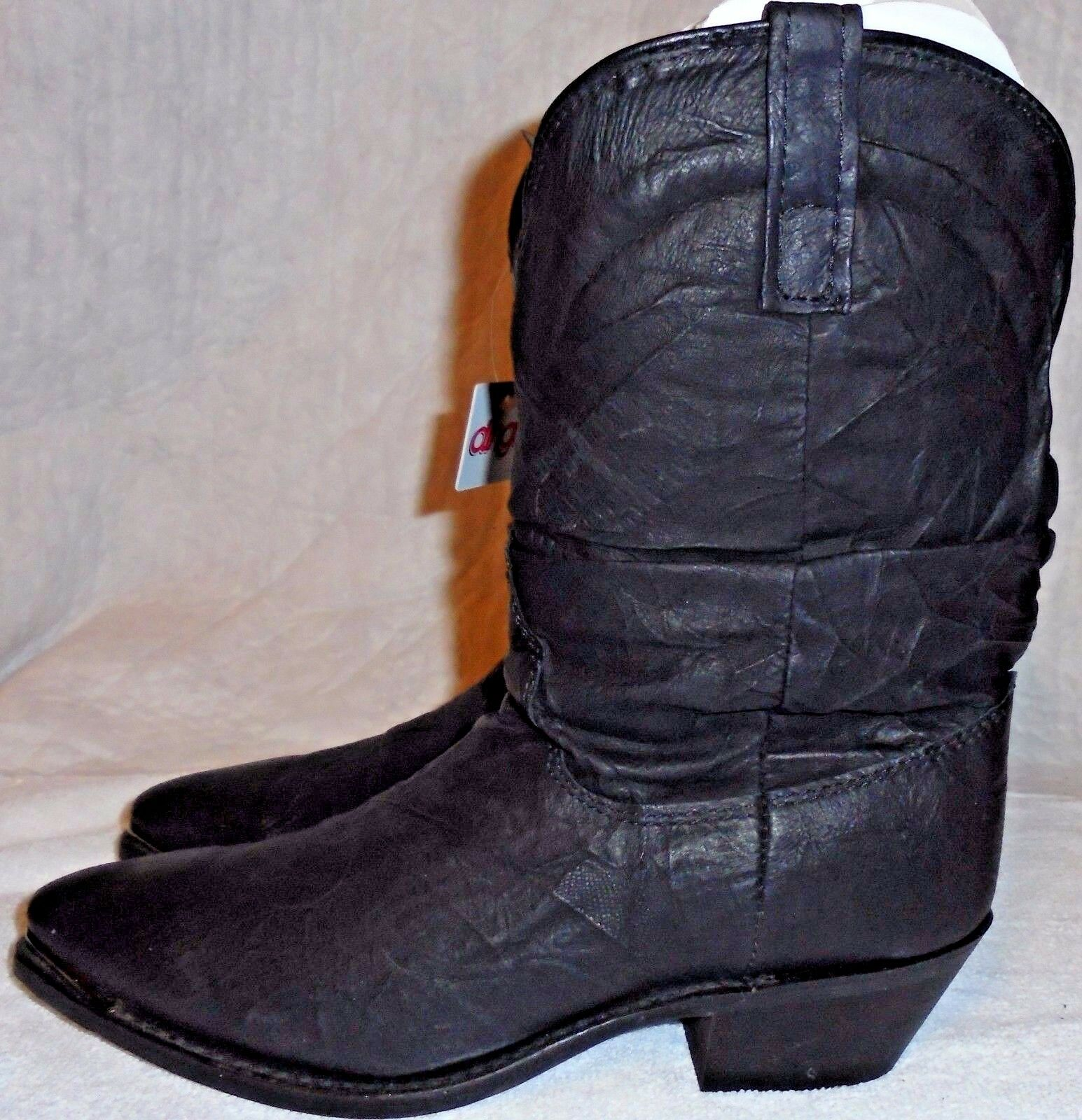 DINGO, LADIES (( NEW )) BLACK LEATHER SLOUCH BOOT, SIZE  6 1 2 M. D117310