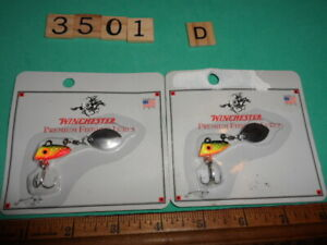 T3501-D-Lot-of-2-Winchester-whirley-bird-fishing-lures-1-4-oz-fire-tiger-rare