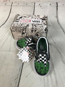 release info on outlet store amazon Details about Vans Marvel Classic Slip-On Hulk/Checkerboard Toddler Size 5  NEW! 000EX8U44 $40