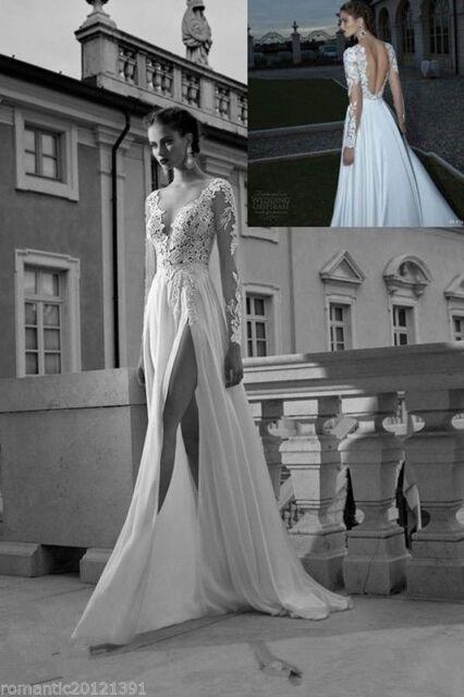 Sexy V-Neck Long Sleeve Wedding Dresses Chiifon Split Beach Bridal Gowns Custom