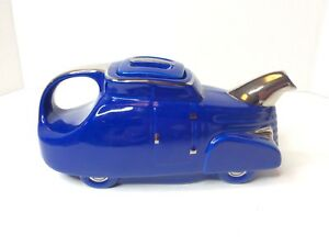 1930s Hall China Automobile Novelty 6 Cup Teapot Royal Blue