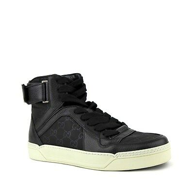 Gucci Black Guccissima Pattern Nylon Hi Top Sneaker w/Leather Trim 409766 1000