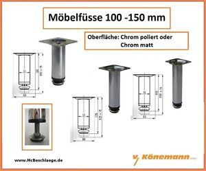 Mobelfusse Mobelfuss Mobelbein Mobelbeine 100 150mm Chrom Poliert