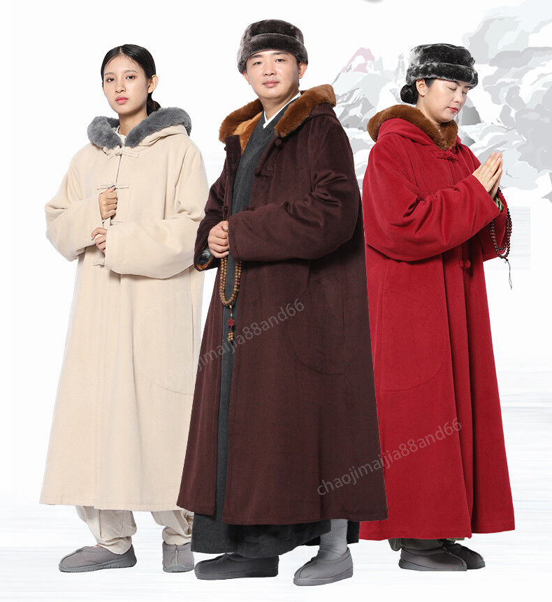 Winter Buddhist Meditation Shaolin Monk  Kung Fu hooded Cloak Robe Gown Cape  more discount