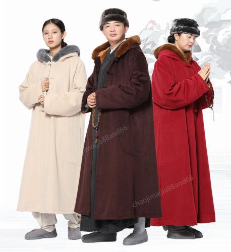 Winter Buddhist Meditation Shaolin Monk Kung Fu hooded Cloak Robe Gown Cape