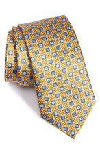 Ermenegildo Zegna Geometric Silk Tie NWT- Yellow