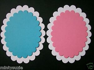 6 LARGE /& 6 SMALL baby pink//baby blue// white scallop oval die cuts LAYERING