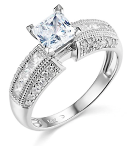 2-25-Ct-Princess-amp-Round-Cut-Engagement-Wedding-Ring-Solid-14K-White-Gold
