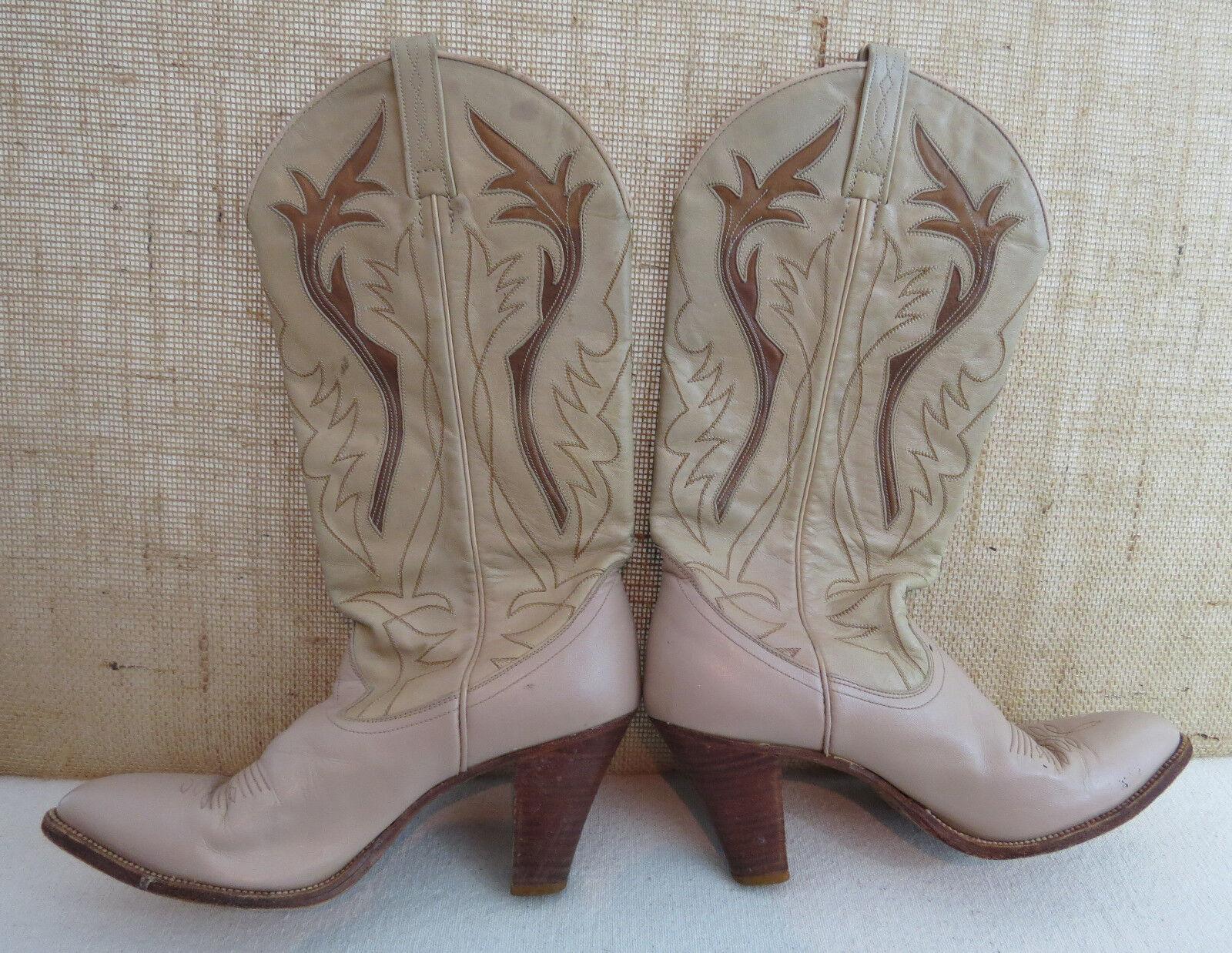 Vintage De Tacón Alto 7,5 n dan Post Cowboy Cowgirl botas blancoo Bronceado Crema Sexy