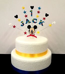 Pleasing Personalised Mickey Mouse Birthday Christening Cake Topper Any Personalised Birthday Cards Bromeletsinfo