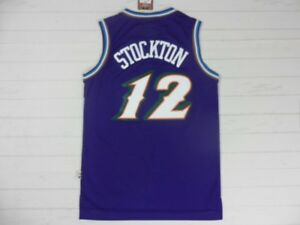 4a13fff5c3e NEW John Stockton  12 Utah Jazz Purple Throwback Basketball Stitched ...