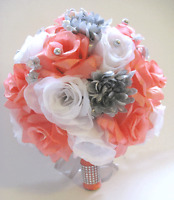 Wedding Silk Flower Bouquet 17 Pc Bridal Package Coral Silver Gray Flowers Set