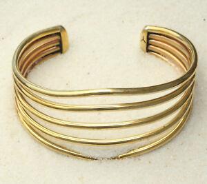 Native-American-Brass-Open-Wire-Cuff-Bracelet-by-Ben-Yellowhorse-Navajo