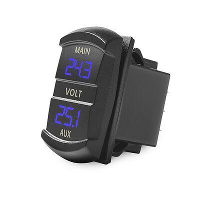 MICTUNING 10-60V Blue LED Digital Panel Double Voltmeter Rocker Switch Voltage