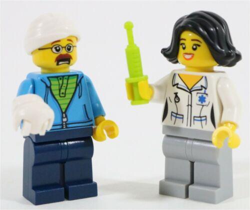 MADE OF GENUINE LEGO LEGO CITY HOSPITAL NURSE /& INJURED PATIENT MINIFIGURES